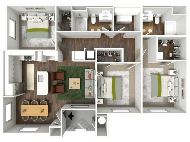 3D furnished floor plan for the C3 3 Bedroom
