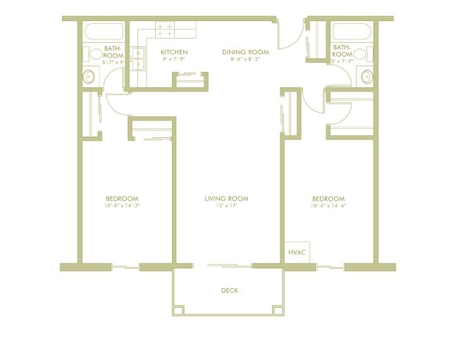For The 2 Bedroom 2 Bathroom Split Floor Plan.