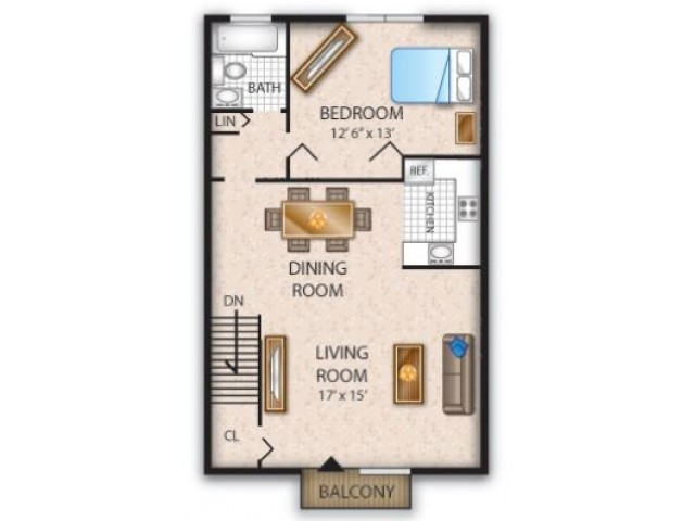 Floor Plan 6 | Pine Hill Apartments | Cedar Brook