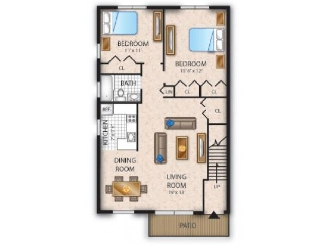 Floor Plan 12 | Pine Hill NJ Apartments | Cedar Brook