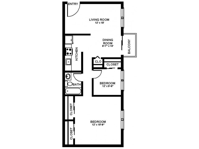 Floor Plan 40 | Philadelphia Apartments For Rent | Canterbury Court