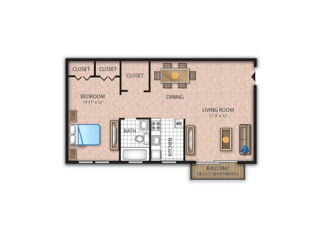 Floor Plan 1 | Newark Apartments | Liberty Square