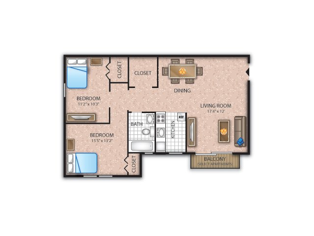 Floor Plan 2 | Newark Apartments For Rent | Liberty Square