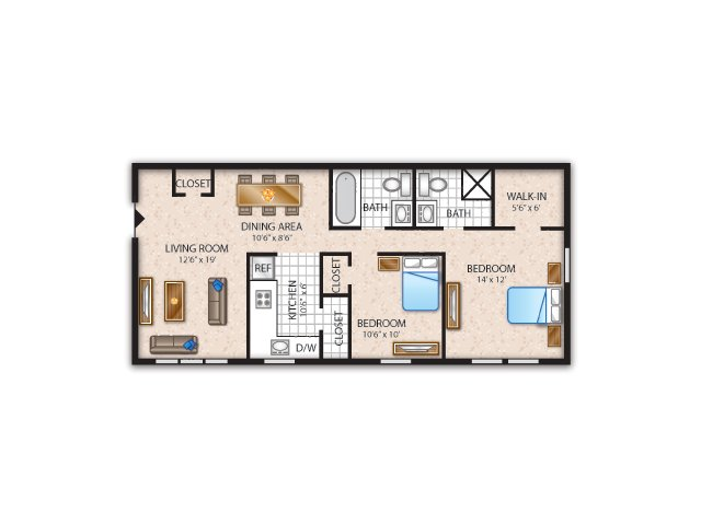 Floor Plan 2 | Apartment In Newark | Liberty Pointe