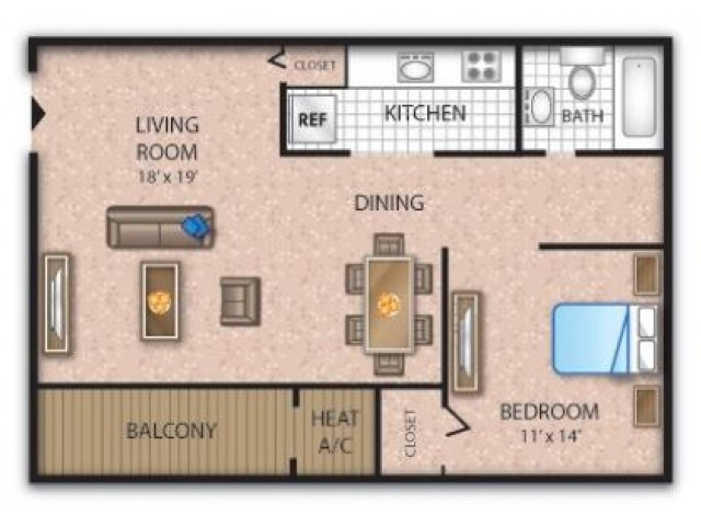 1 Bedroom Floor Plan | Deptford Apartments | Timber Pointe Apartments