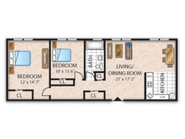 Floor Plan 9 | Apartments Barrington NJ | Union Grove
