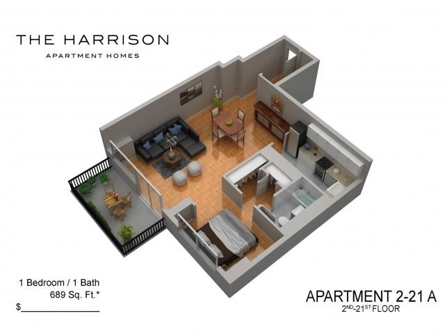 3D Floor Plan 3   Luxury Apartments In Somerset NJ   The Harrison