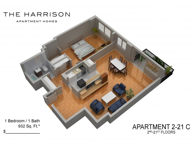 3D Floor Plan 9   Somerset NJ Luxury Apartments   The Harrison