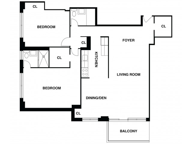 2D Floor Plan 10 | Somerset NJ Apartments | The Harrison