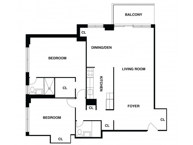 2D Floor Plan 14 | Somerset NJ Luxury Apartments | The Harrison