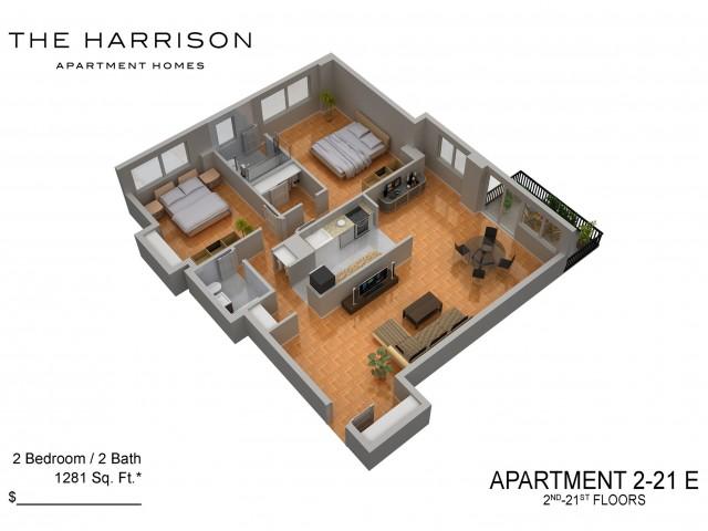 3D Floor Plan 15   Somerset NJ Apartments   The Harrison