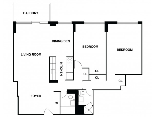 2D Floor Plan 16 | Somerset Apartments | The Harrison