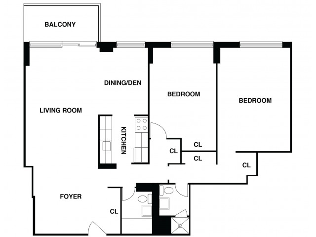 2D Floor Plan 17 | Somerset Apartment | The Harrison