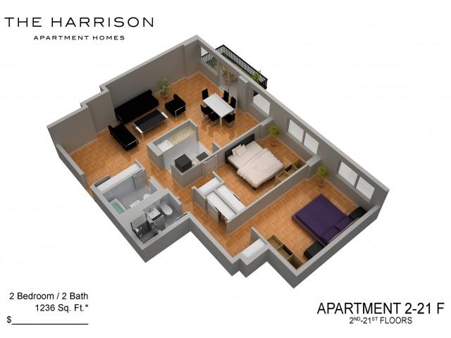 3D Floor Plan 18   Luxury Apartments In Somerset NJ   The Harrison
