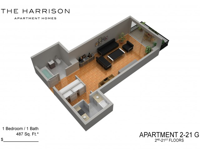 3D Floor Plan 21 | Somerset Apartments | The Harrison