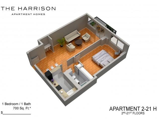 3D Floor Plan 24   Somerset NJ Luxury Apartments   The Harrison