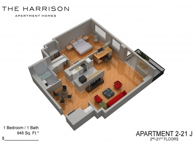 3D Floor Plan 27 | Somerset Apartment | The Harrison