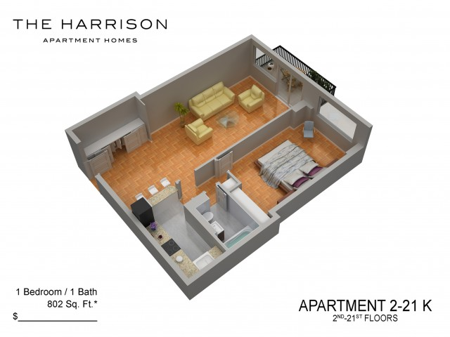 3D Floor Plan 30   Somerset NJ Apartments   The Harrison