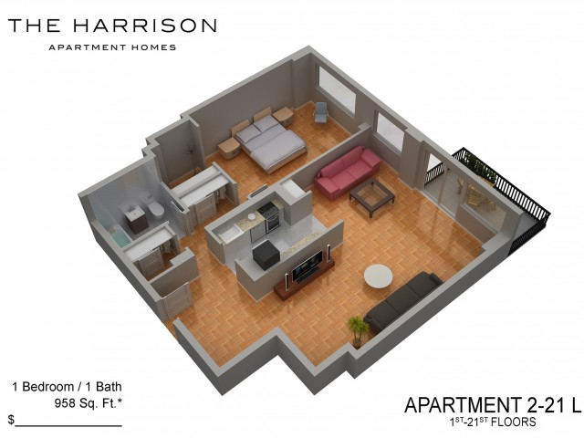 3D Floor Plan 32 | Somerset Apartment | The Harrison
