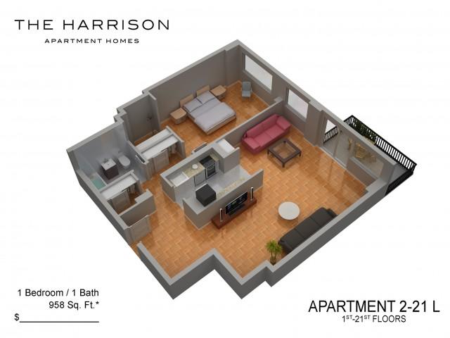 3D Floor Plan 33   Luxury Apartments In Somerset NJ   The Harrison