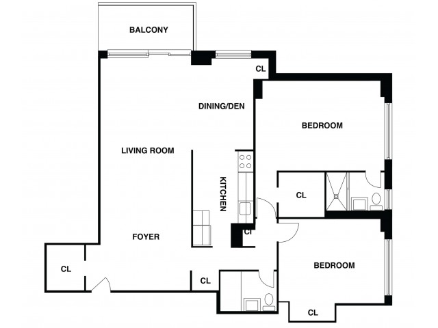 2D Floor Plan 34 | Somerset NJ Luxury Apartments | The Harrison