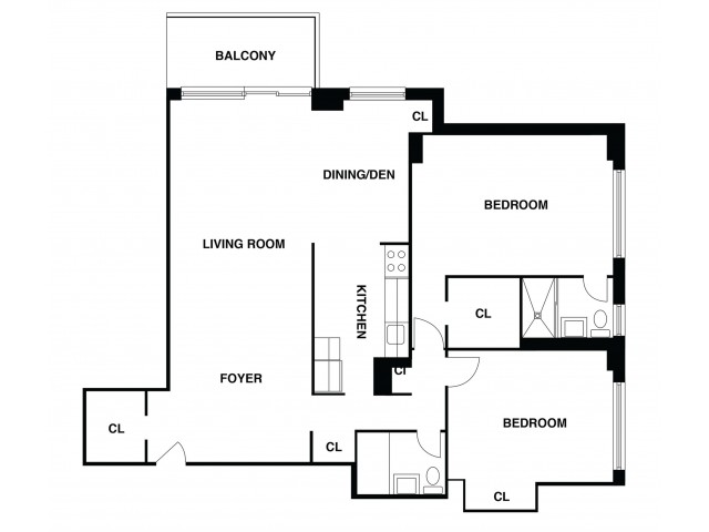 2D Floor Plan 35 | Somerset NJ Apartments | The Harrison