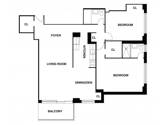 2D Floor Plan 37 | Somerset Apartment | The Harrison
