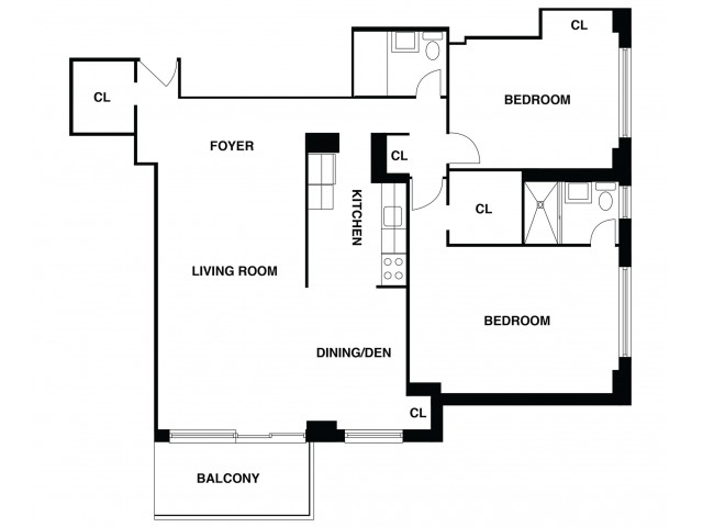 2D Floor Plan 38 | Luxury Apartments In Somerset NJ | The Harrison