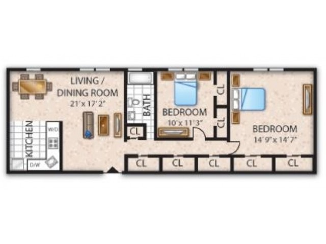 Floor Plan 11 | Barrington Apartments | Union Grove