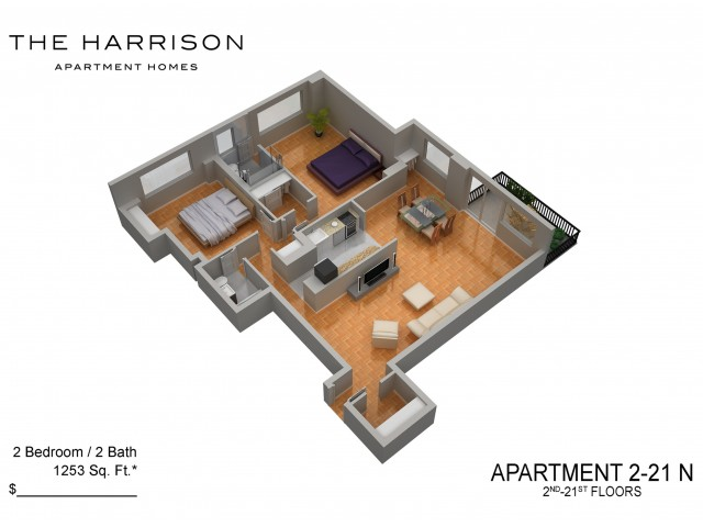 3D Floor Plan 39   Somerset NJ Luxury Apartments   The Harrison