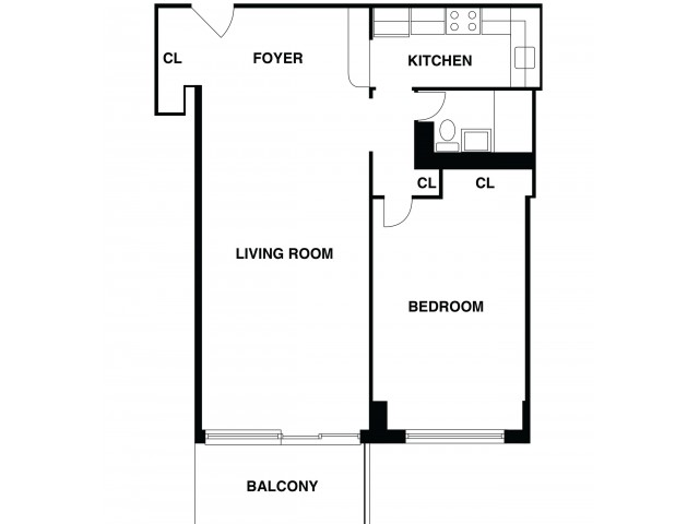 2D Floor Plan 44 | Somerset NJ Luxury Apartments | The Harrison