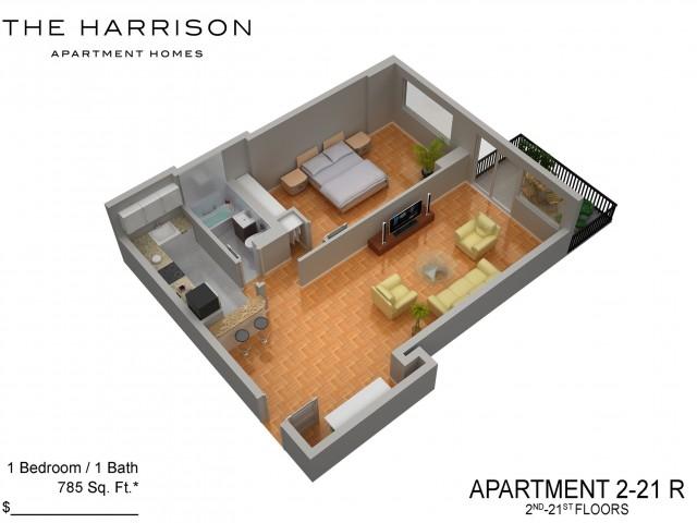 3D Floor Plan 45   Somerset NJ Apartments   The Harrison