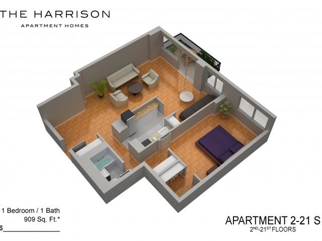 3D Floor Plan 49   Luxury Apartments In Somerset NJ   The Harrison