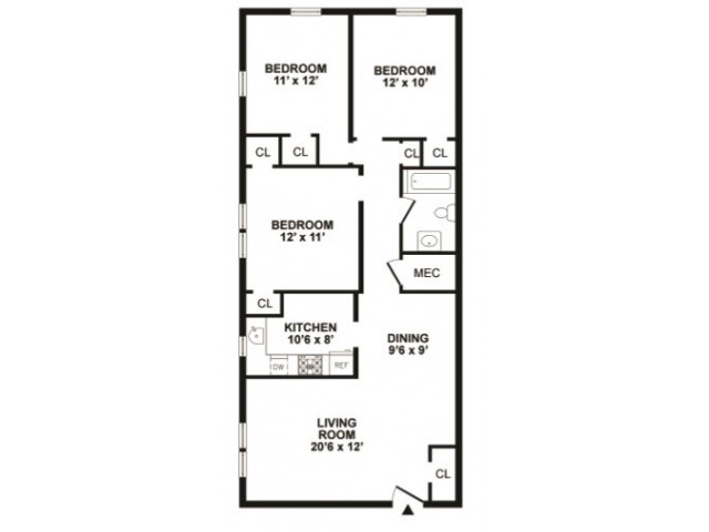 3 Bedroom Floor Plan | Newark DE Apartments | Hunters Crossing