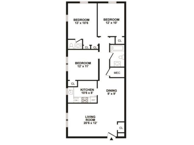 3 Bdrm Floor Plan | Luxury Newark Apartments | Hunters Crossing