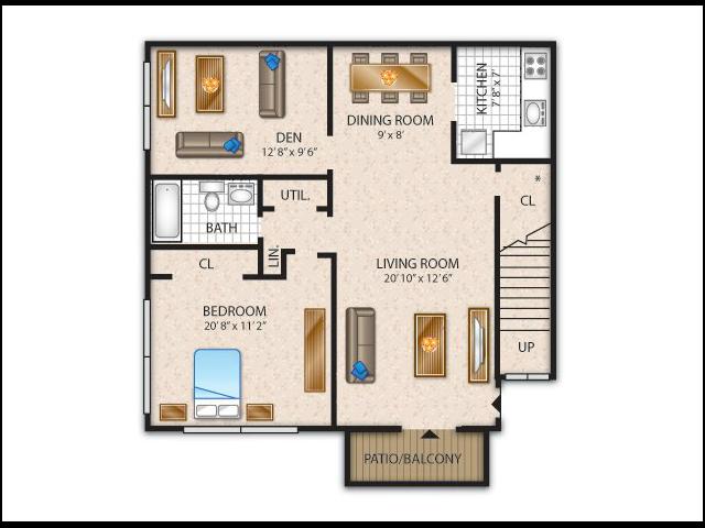 1 Bdrm Floor Plan   Flanders Apartments   Overlook at Flanders