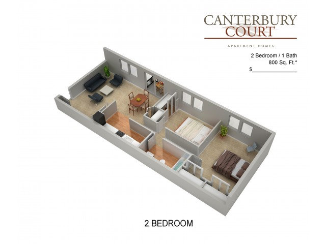 Floor Plan 25 | Philadelphia Apartments For Rent | Canterbury Court
