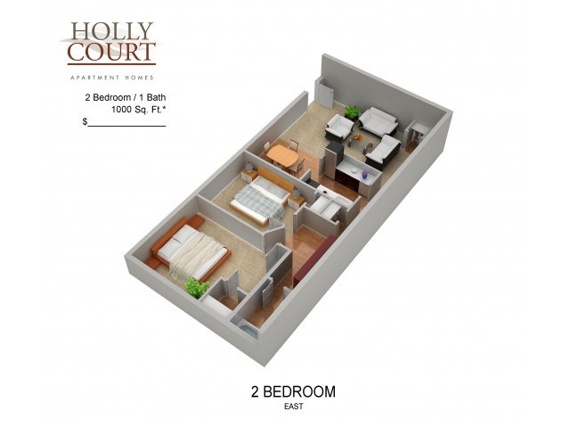 Floor Plan 33 | Apartments In Pitman New Jersey | Holly Court