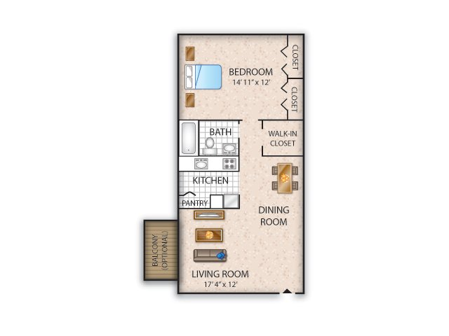 Floor Plan 2 | Apartments Allentown PA | Lehigh Square