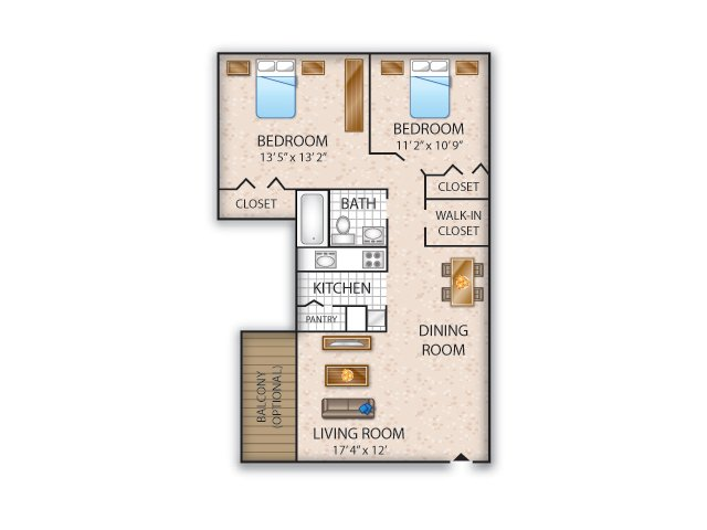 Floor Plan 5 | Apartments In Allentown PA | Lehigh Square
