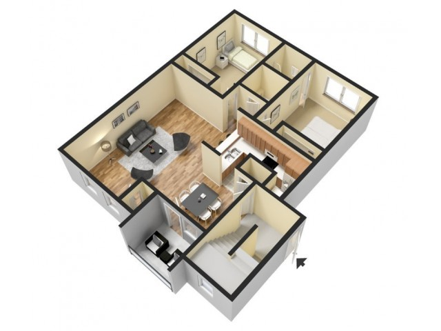 Floor Plan 3 | Luxury Apartments In Harrisburg PA | Mulberry Station