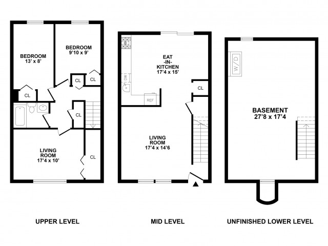 3 Bedroom Floor Plan | Townhomes In Bethlehem PA For Rent | River Pointe