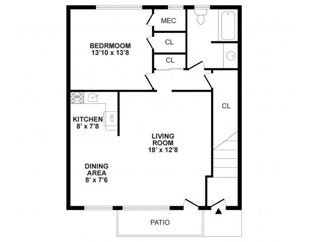 Floor Plan 2 | Apartment In Burlington NJ | Burlington Pointe