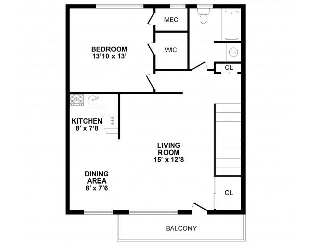 Floor Plan 1 | Burlington Apartments | Burlington Pointe