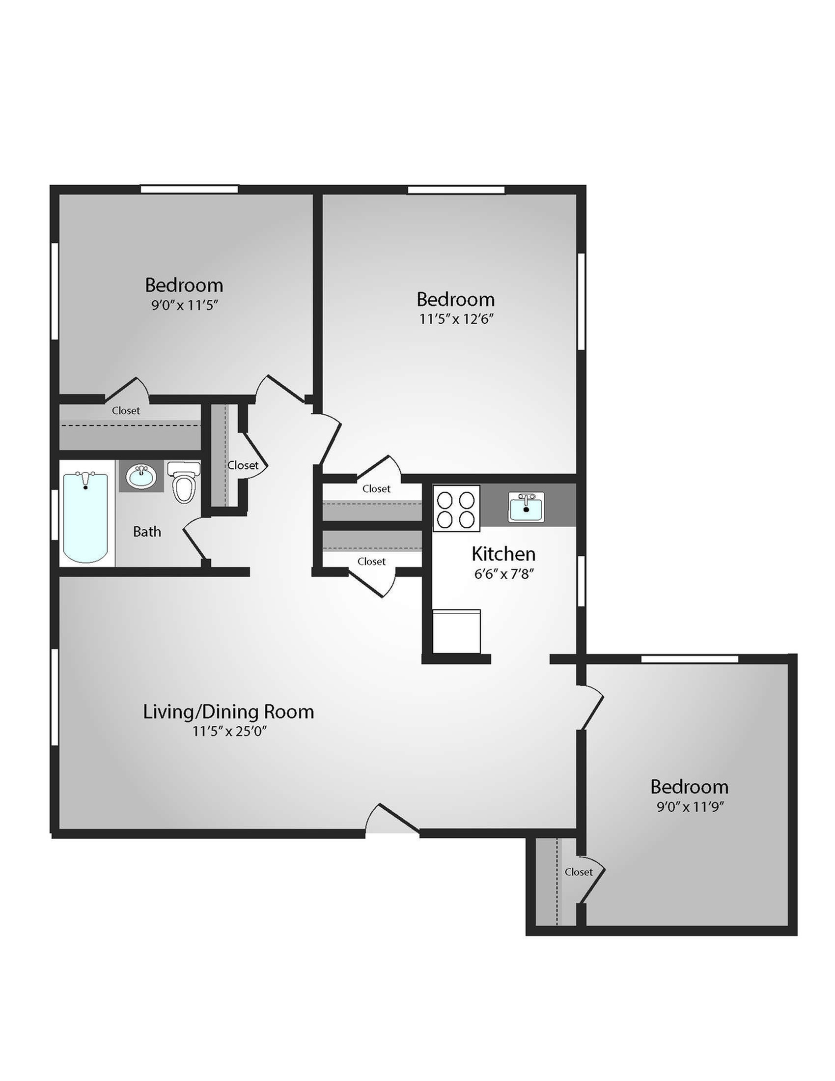 Floor Plan 33 | Apartments Near Downtown Pittsburgh | The Alden