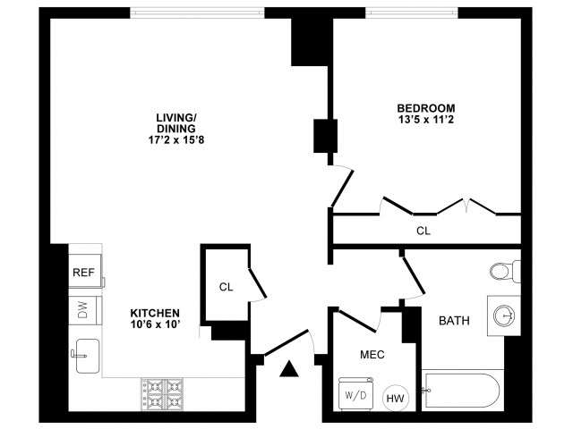 1 Bdrm Floor Plan | Apartments In Cherry Hill NJ | Cherry Hill Towers