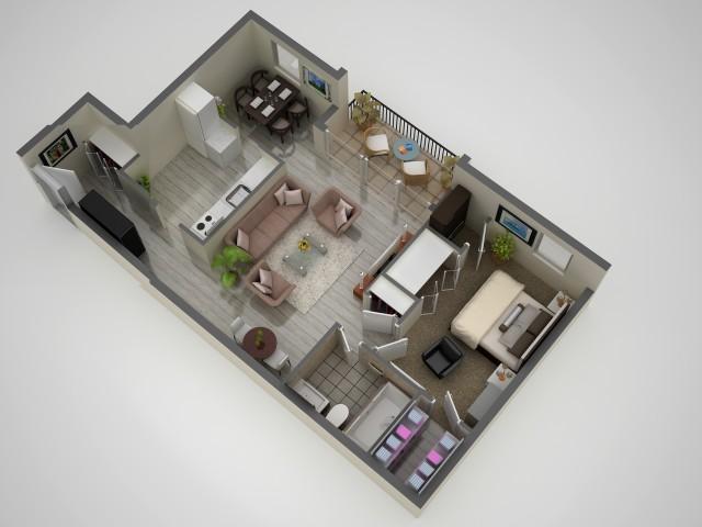 1 Bedroom Floor Plan | Apartments In Baltimore MD | Metro Pointe