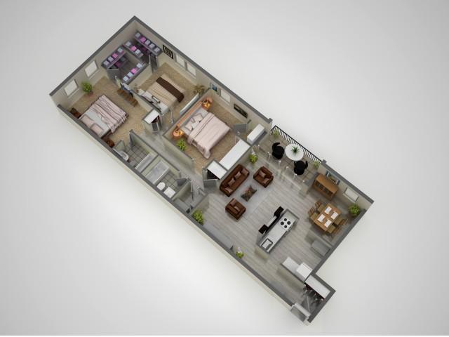 Three bedroom, 2 bathroom
