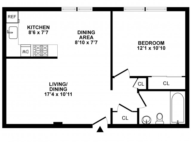 1 Bedroom Floor Plan | Apartments In Hatboro | The Wellington