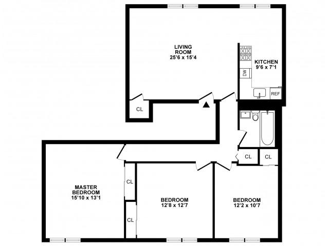 3 Bedroom Floor Plan | Apartments In Hatboro | The Wellington